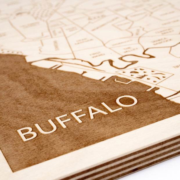 Buffalo Engraved Wood Map - Etched Atlas