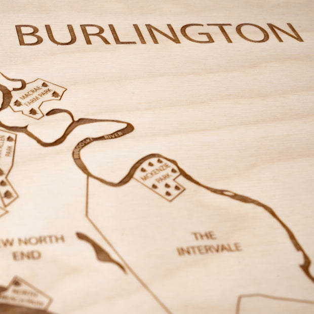 Burlington Custom Map Gift - Etched Atlas