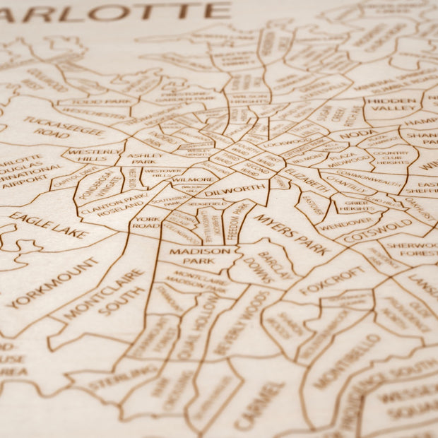 Charlotte Custom Map Gift - Etched Atlas