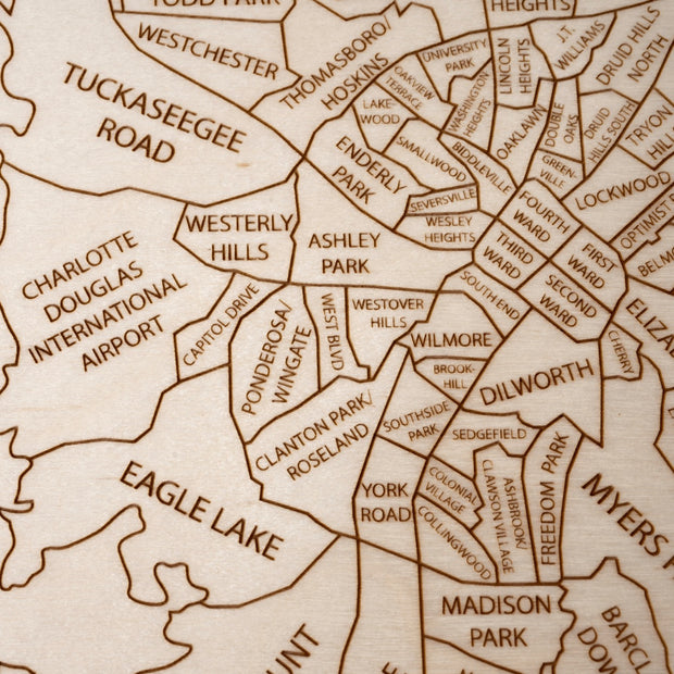 Charlotte Engraved Wood Map - Etched Atlas