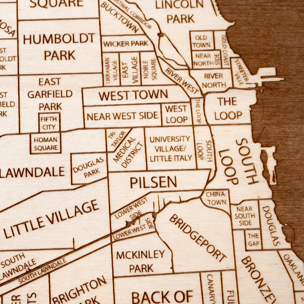 Chicago Engraved Wood Map - Etched Atlas