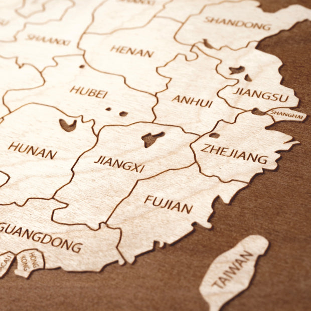 China Engraved Wood Map - Etched Atlas