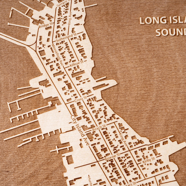 City Island Engraved Wood Map - Etched Atlas