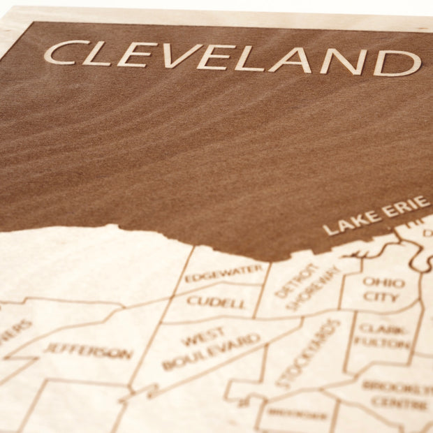 Cleveland Engraved Wood Map - Etched Atlas