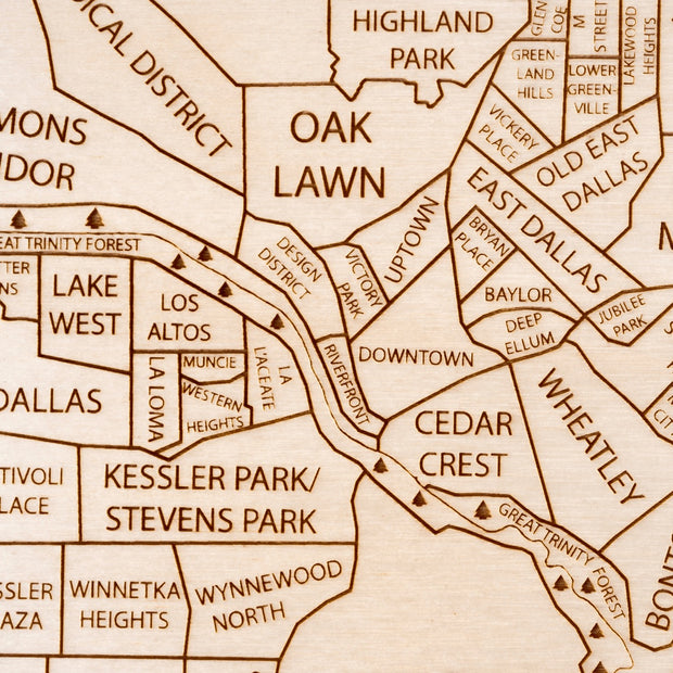 Dallas Engraved Wood Map - Etched Atlas