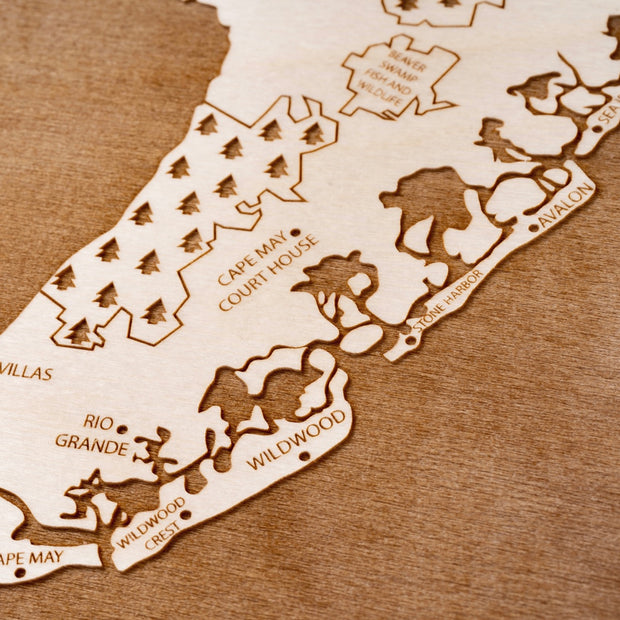 Delaware Bay Area Custom Map Gift - Etched Atlas