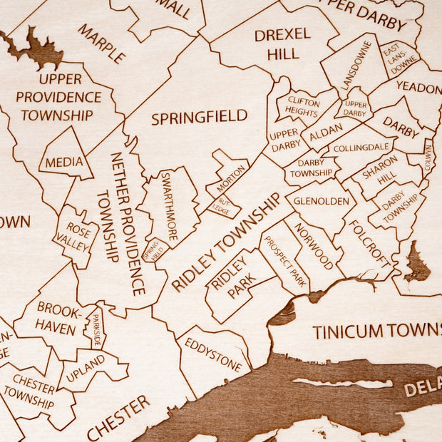 Delaware County Engraved Wood Map - Etched Atlas
