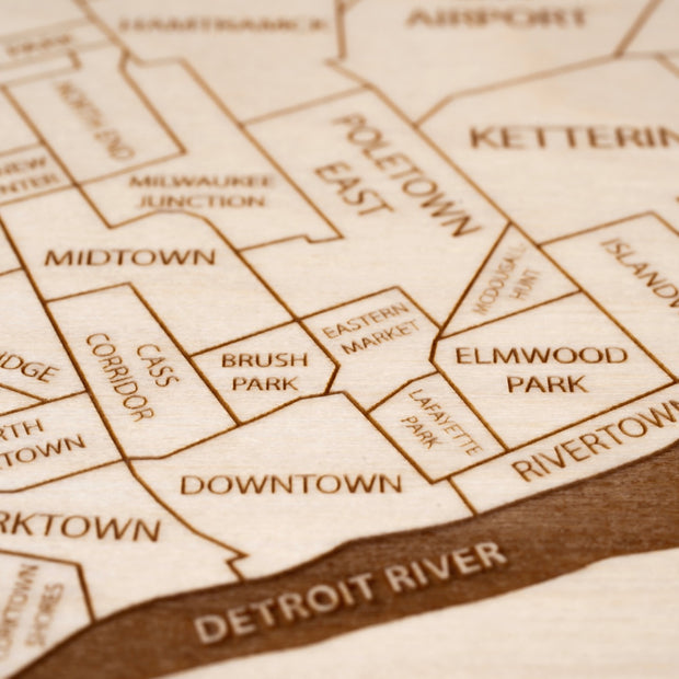 Detroit Custom Map Gift - Etched Atlas