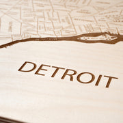 Detroit Engraved Wood Map - Etched Atlas