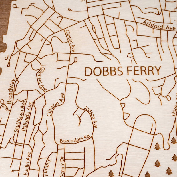 Dobbs Ferry Engraved Wood Map - Etched Atlas