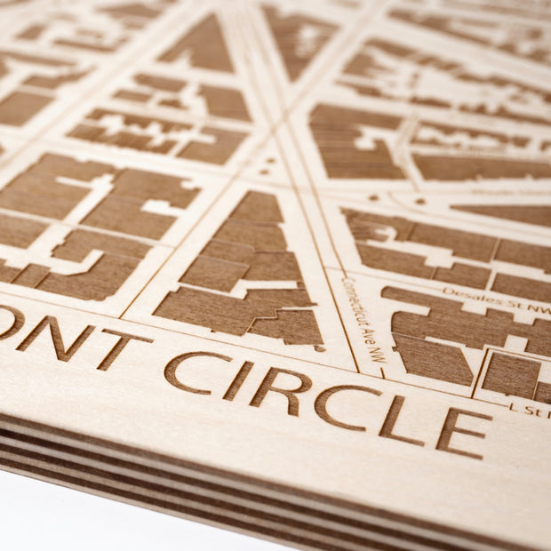 Dupont Circle Engraved Wood Map - Etched Atlas