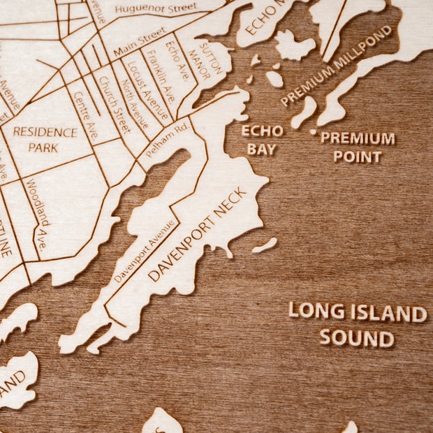 New Rochelle Engraved Wood Map - Etched Atlas