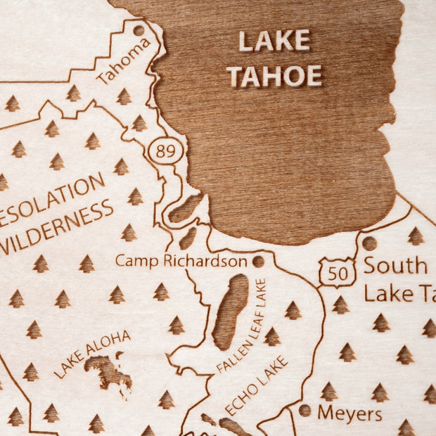 El Dorado County Engraved Wood Map - Etched Atlas