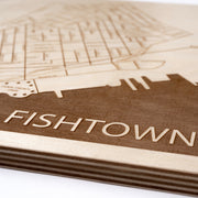 Fishtown Engraved Wood Map - Etched Atlas