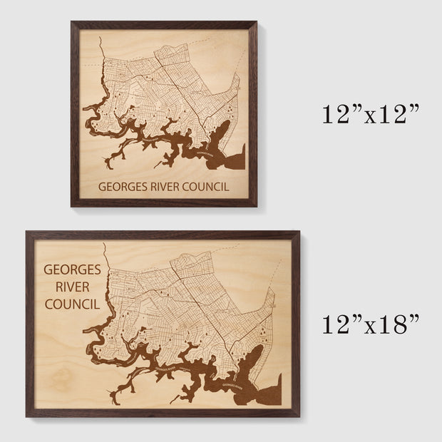 Georges River Council Map - - Etched Atlas