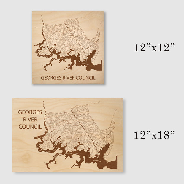 Georges River Council Map - 12x12-Unframed- Etched Atlas
