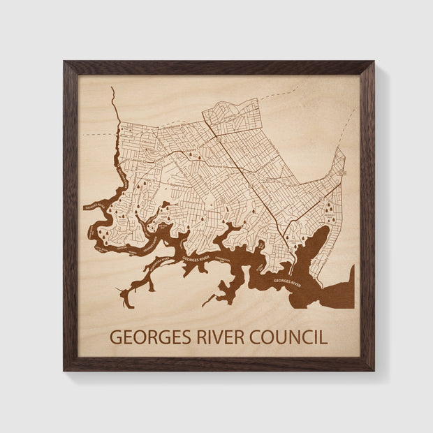 Georges River Council Map - 12x12-Framed- Etched Atlas