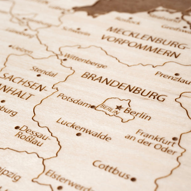 Germany Engraved Wood Map - Etched Atlas