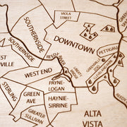 Greenville Engraved Wood Map - Etched Atlas