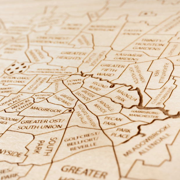 Houston Engraved Wood Map - Etched Atlas