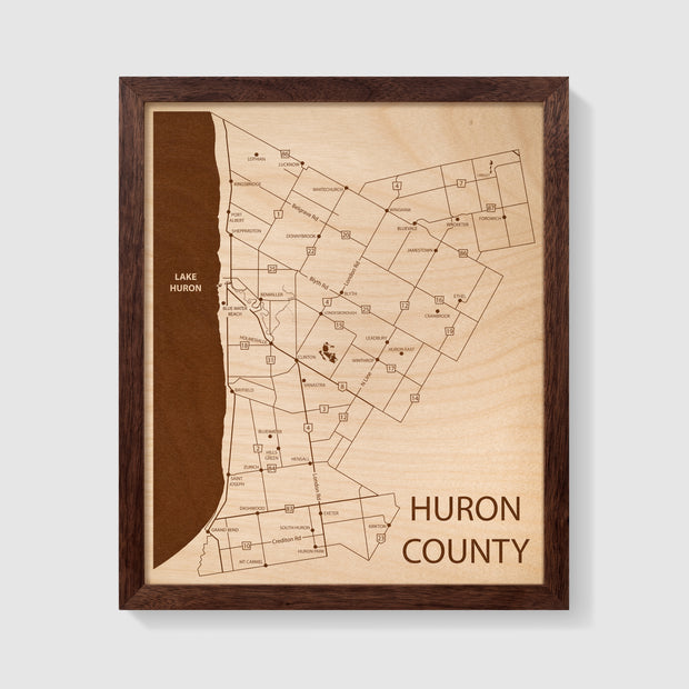 Huron County Map - 12x10-Framed- Etched Atlas
