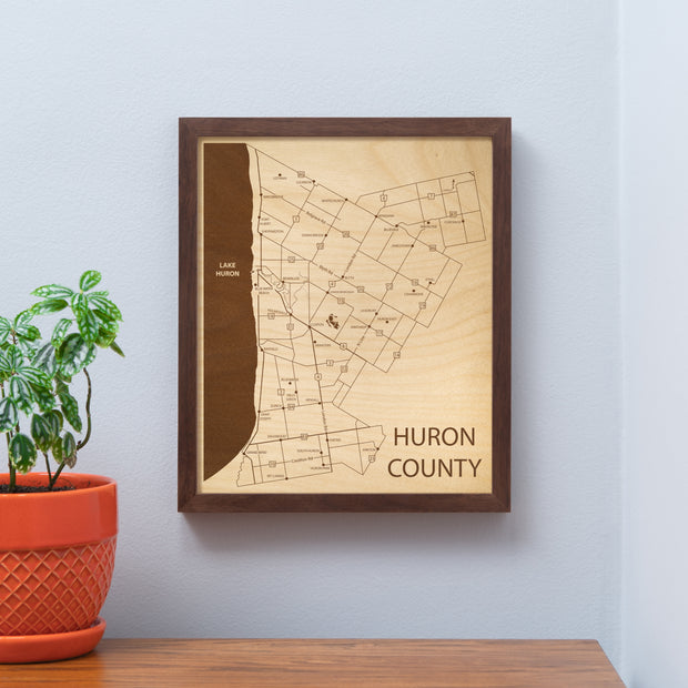 Huron County Map - - Etched Atlas