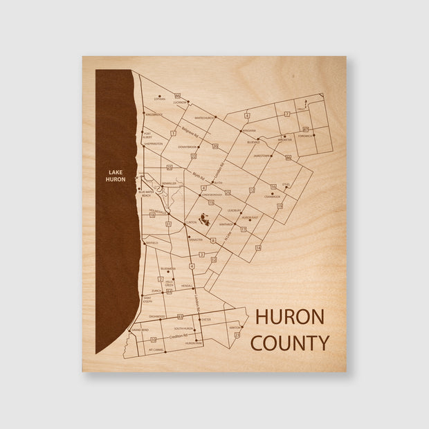 Huron County Map - 12x10-Unframed- Etched Atlas