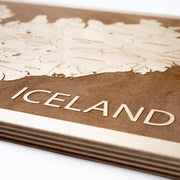 Iceland Engraved Wood Map - Etched Atlas