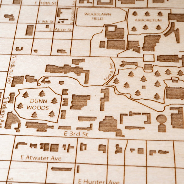 Indiana University Engraved Wood Map - Etched Atlas
