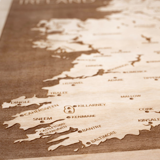 Ireland Engraved Wood Map - Etched Atlas