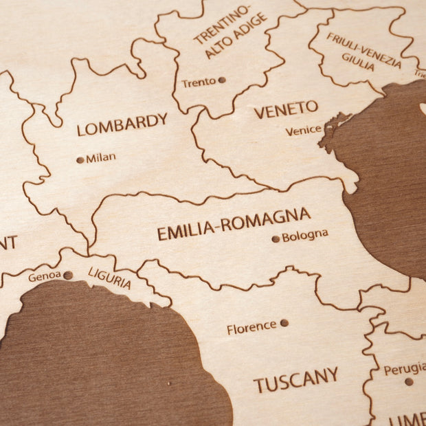 Italy Engraved Wood Map - Etched Atlas