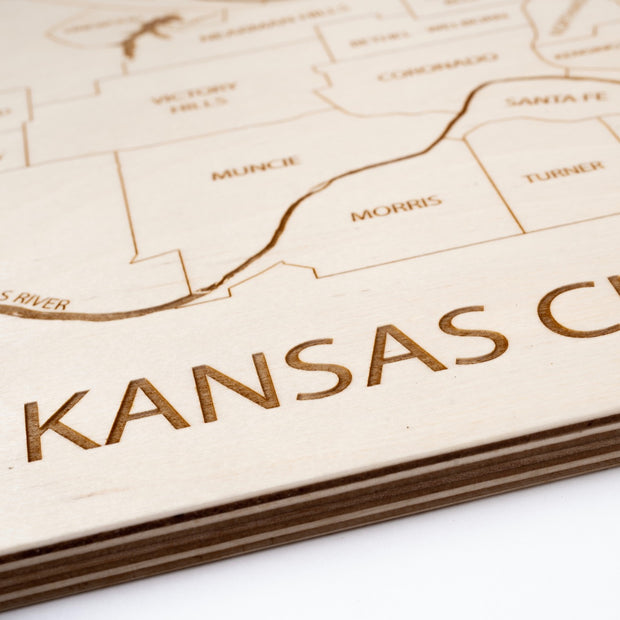 Kansas City, KS Engraved Wood Map - Etched Atlas