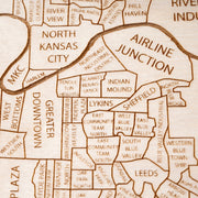 Kansas City, MO Engraved Wood Map - Etched Atlas