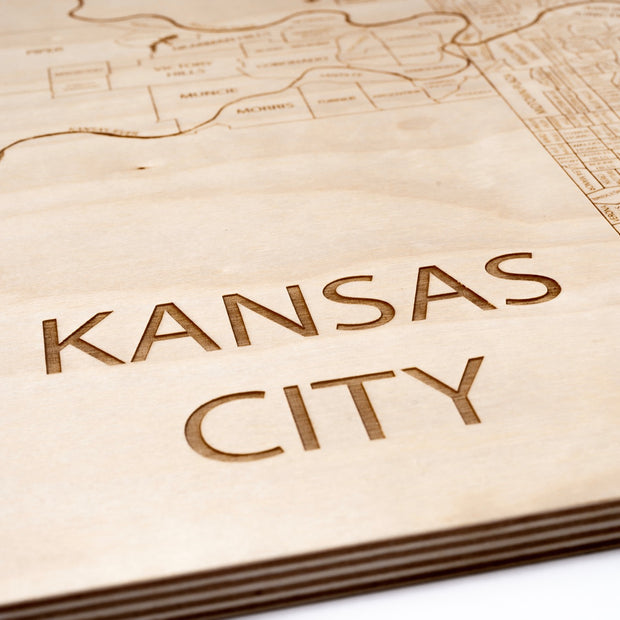Kansas City, MO + KS Engraved Wood Map - Etched Atlas