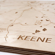 Keene Engraved Wood Map - Etched Atlas