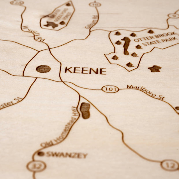 Keene Custom Map Gift - Etched Atlas