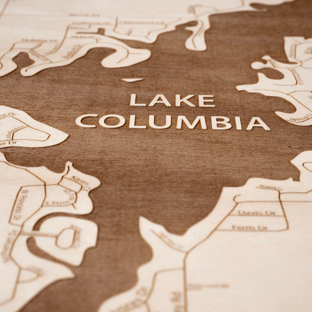 Lake Columbia Closing Housewarming Gift - Etched Atlas