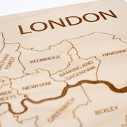 London Engraved Wood Map - Etched Atlas