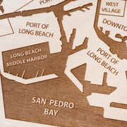 Long Beach Engraved Wood Map - Etched Atlas