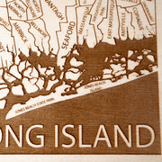 Long Island Engraved Wood Map - Etched Atlas