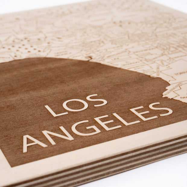 Los Angeles Area Engraved Wood Map - Etched Atlas