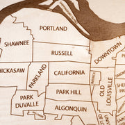 Louisville Engraved Wood Map - Etched Atlas