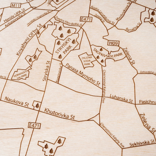 Lviv Engraved Wood Map - Etched Atlas