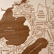 Madison Engraved Wood Map - Etched Atlas