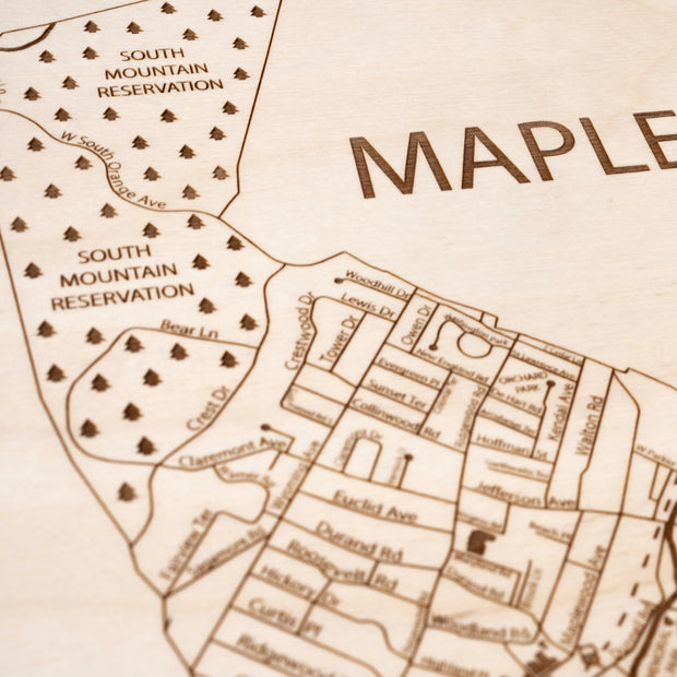 Maplewood Custom Map Gift - Etched Atlas