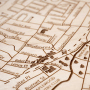 Maplewood Engraved Wood Map - Etched Atlas