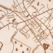Medfield Engraved Wood Map - Etched Atlas