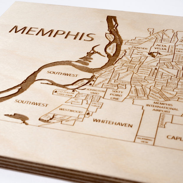 Memphis Engraved Wood Map - Etched Atlas