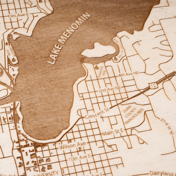 Menomonie Engraved Wood Map - Etched Atlas