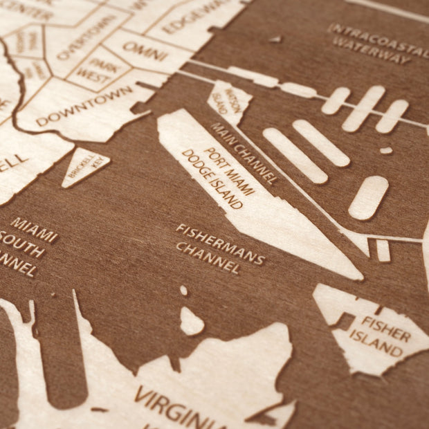 Miami Engraved Wood Map - Etched Atlas